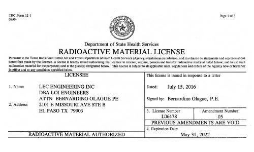 Health Services Radioactive License